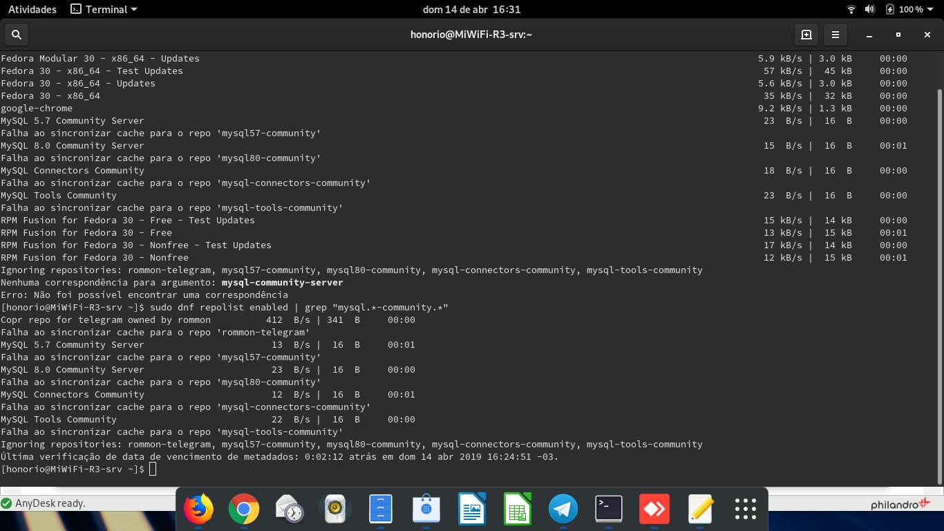 RESOLVIDO] Não consigo instalar o Mysql no Fedora